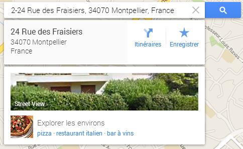 Google Map Street View adresse
