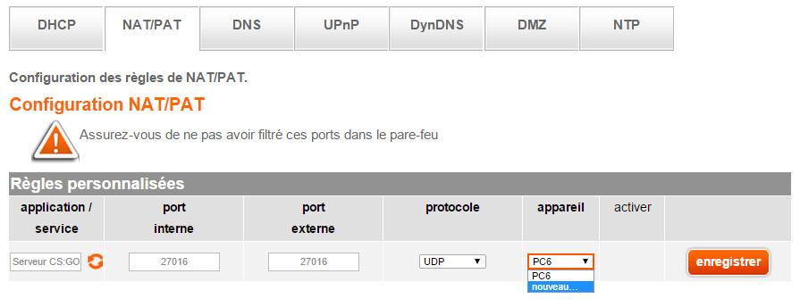 Redirection de port Orange 03